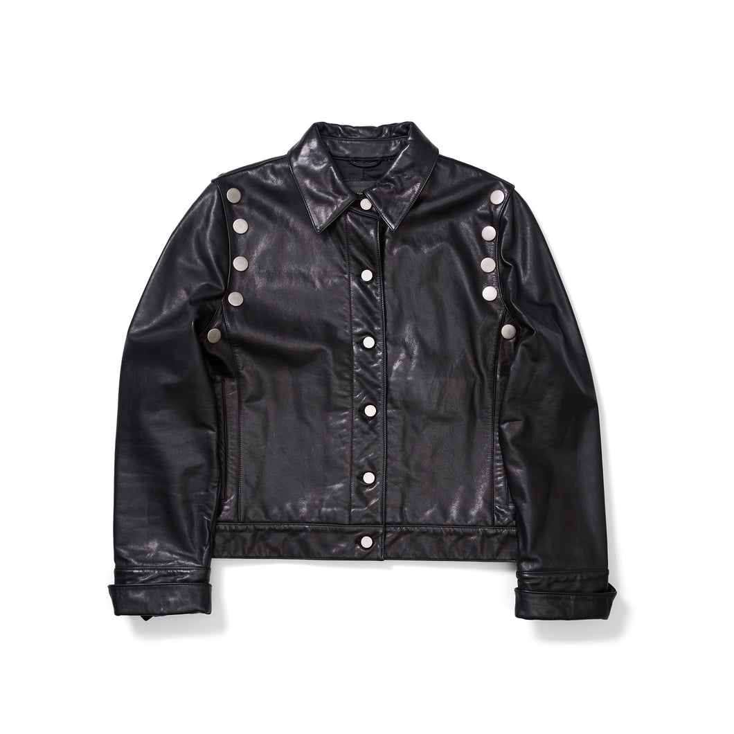 Banana Republic Leather Bomber with Oversized Studs