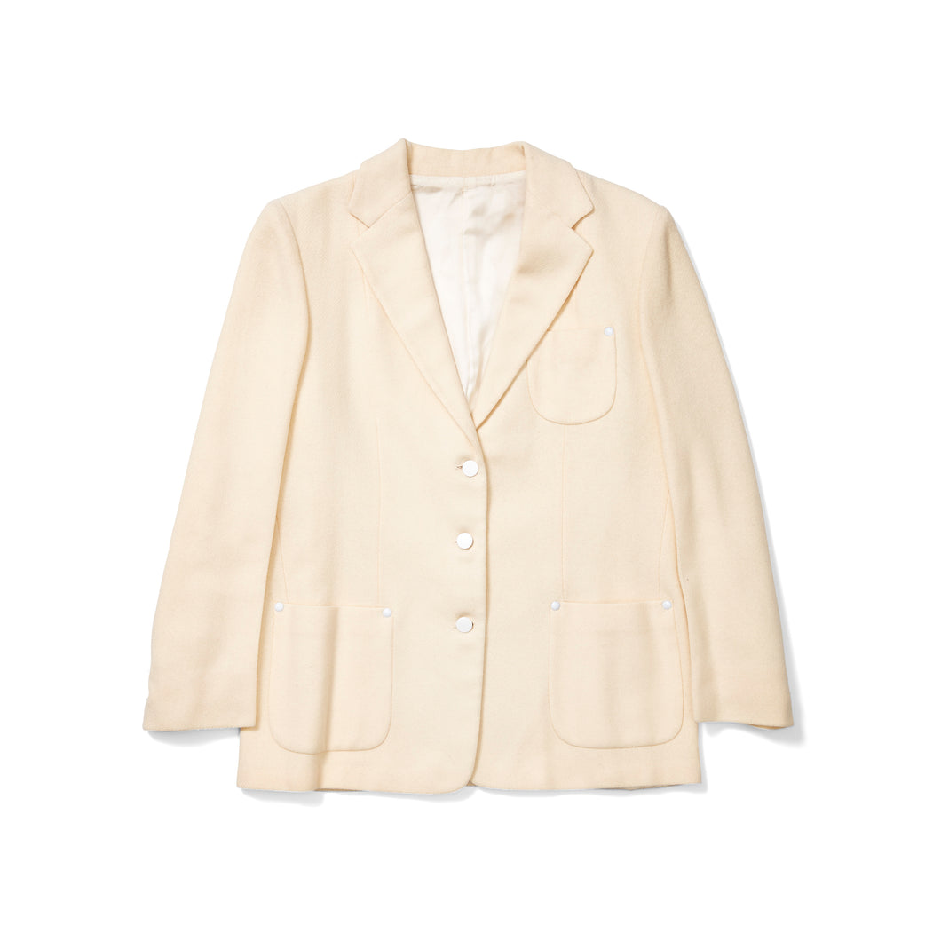 Cream Wool Blazer with White Studs