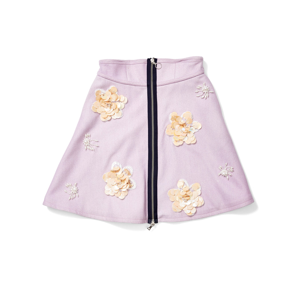 Lavender Zip Mini Skirt with Sequin Patches