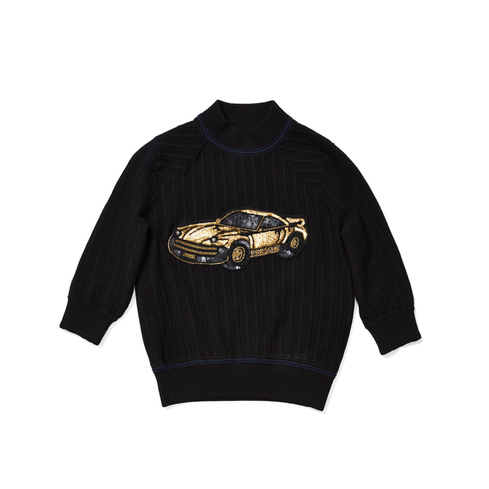 90s Knit Top with Sequin Porsche 966 Patch