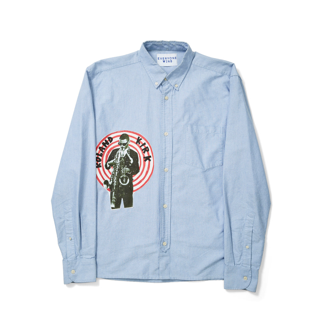 Blue Oxford Button Down Shirt with Roland Kirk Patch