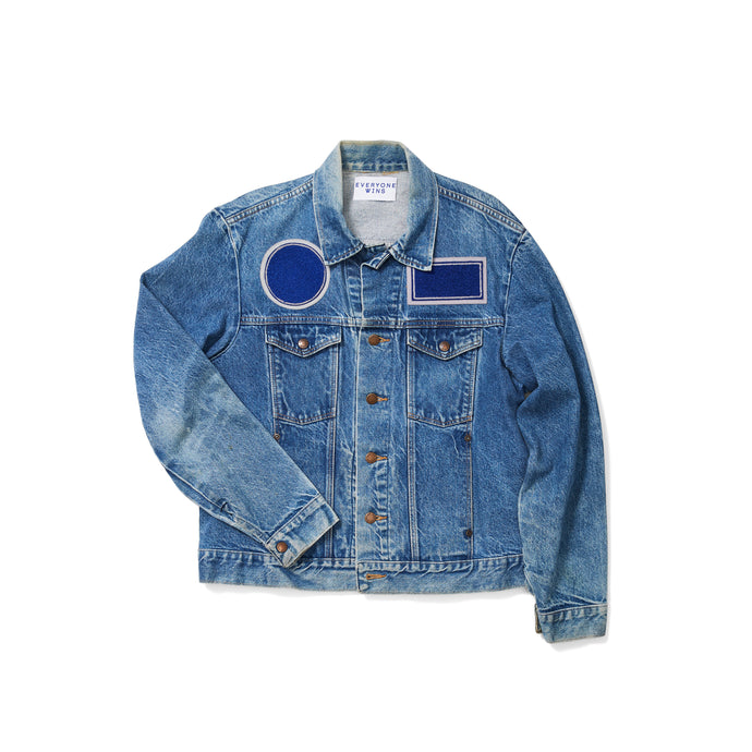 1970s Denim Jacket with Chenille Shape Patches