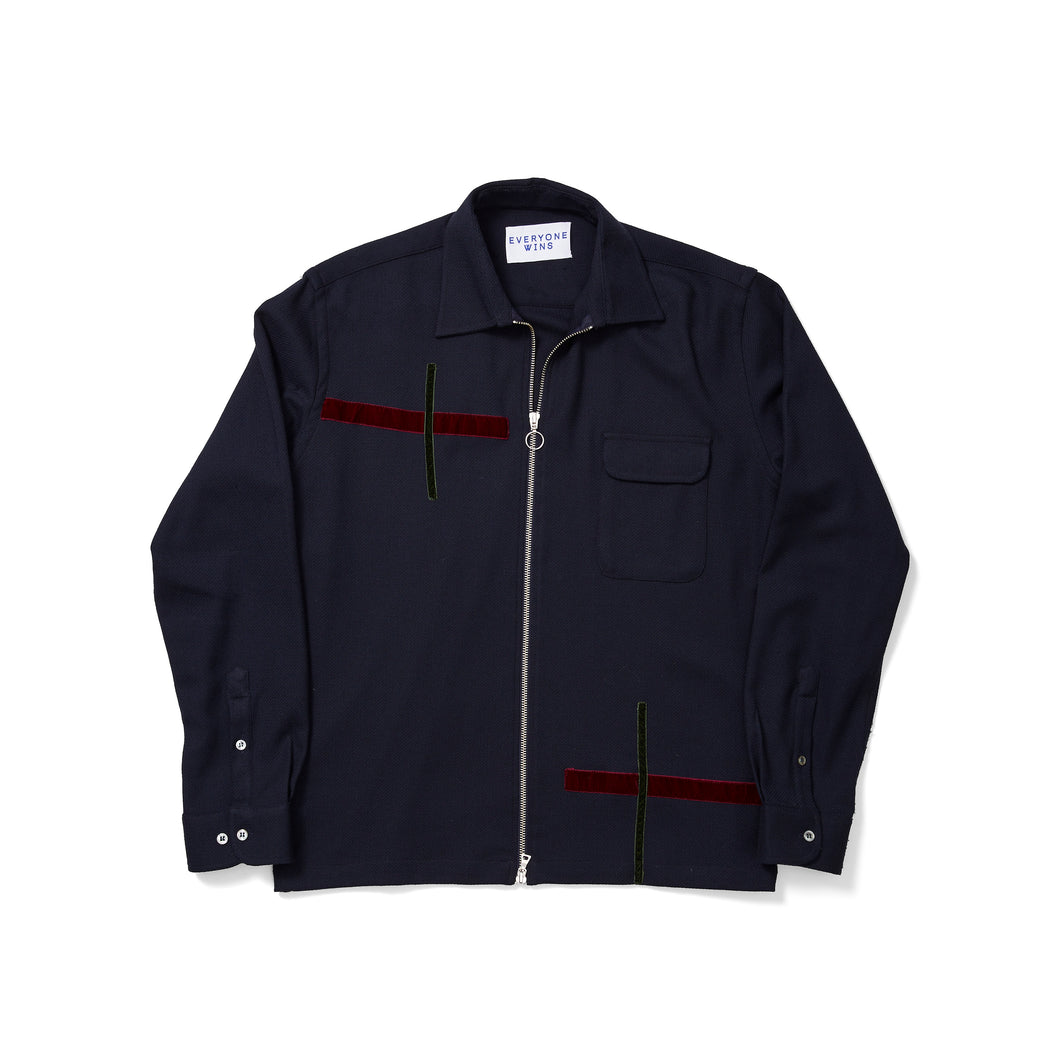 Timo Weiland Navy Zippered Jacket with Velvet Accents