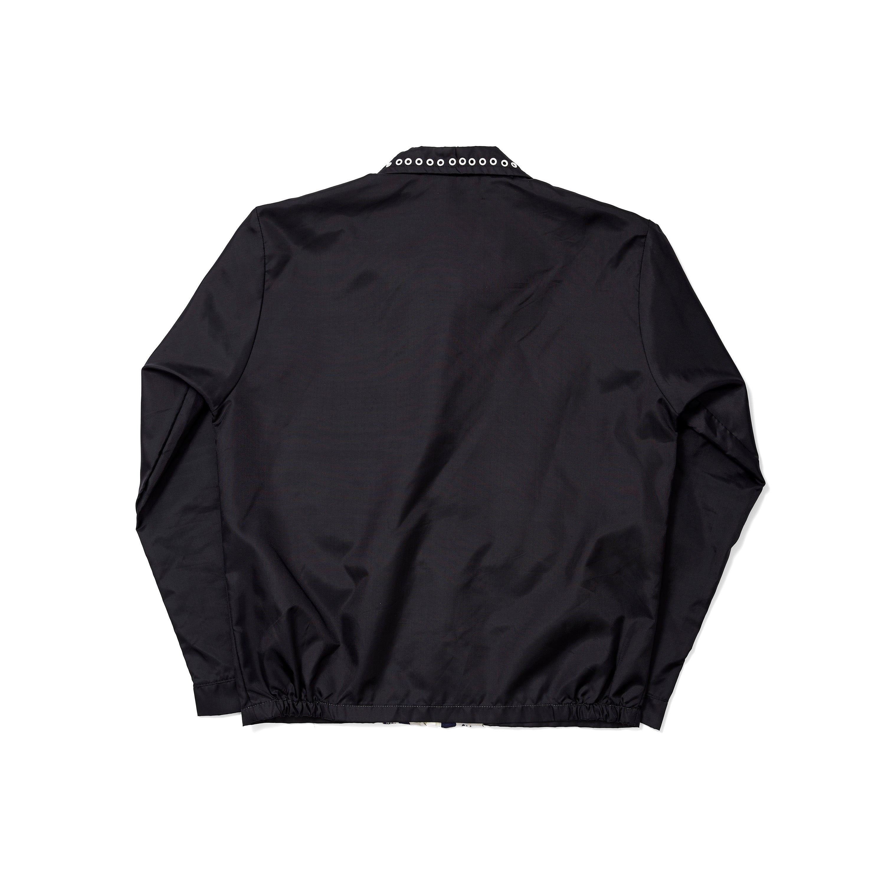 Vintage Black Windbreaker with White Eyelets