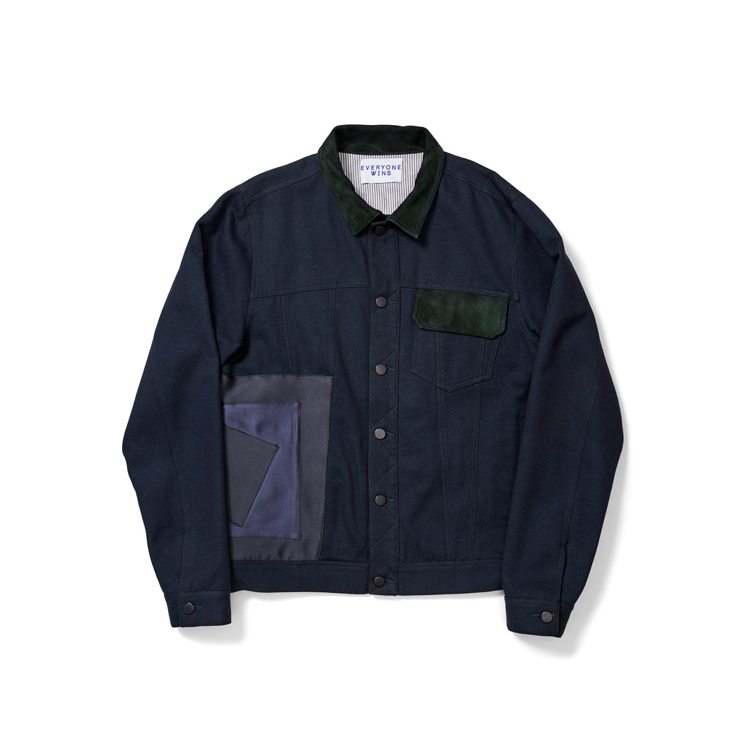 Japanese Wool Trucker Jacket with Satin & Suede Patches