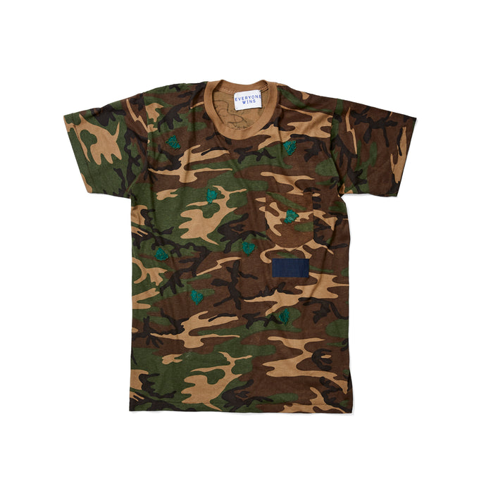 Vintage Camo Tee with Leaf Patches