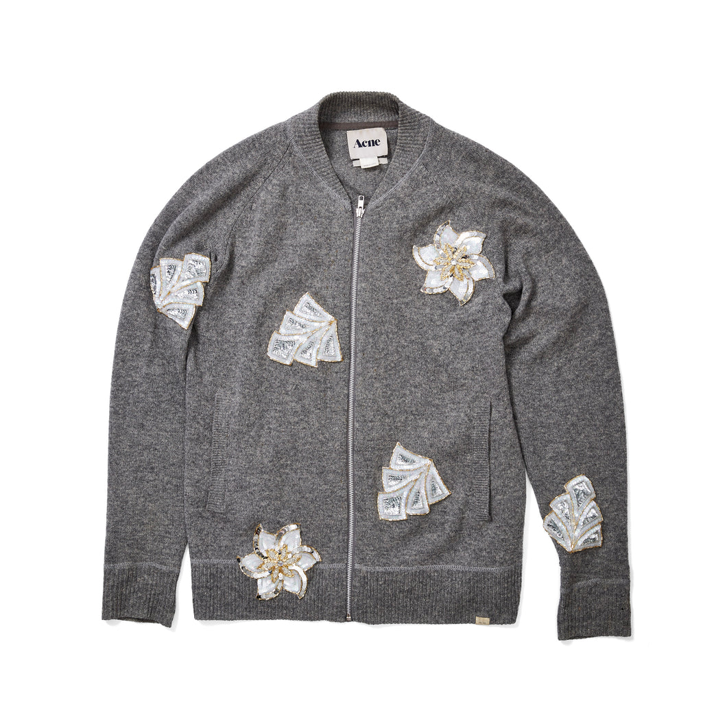 Acne Studios Grey Cardigan with Sequin Patches