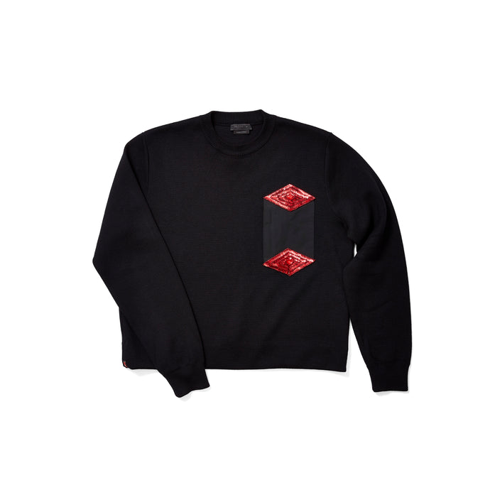 Prada Boxy Sweater with Red Diamond Patches