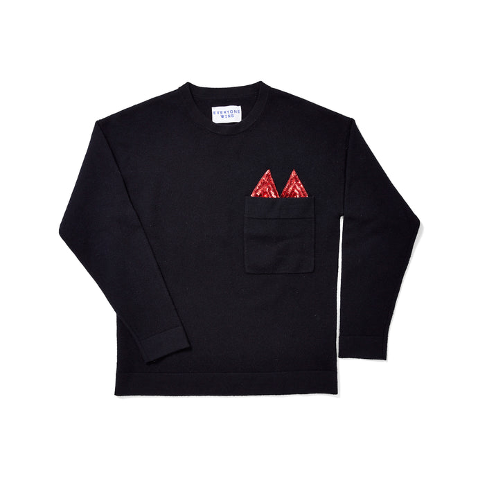 Cos Pocket Sweater with Red Sequins