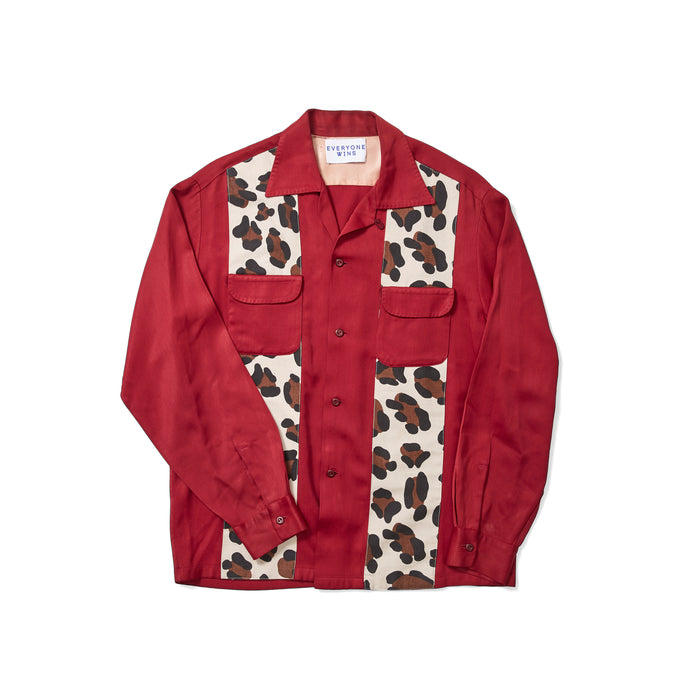 1950s Red Gabardine Shirt with Leopard Panels