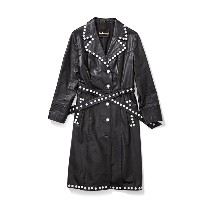 Leather Trench Coat with White Studs