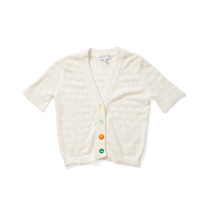 Agnes B Short Sleeve Cardigan with Mismatched Buttons