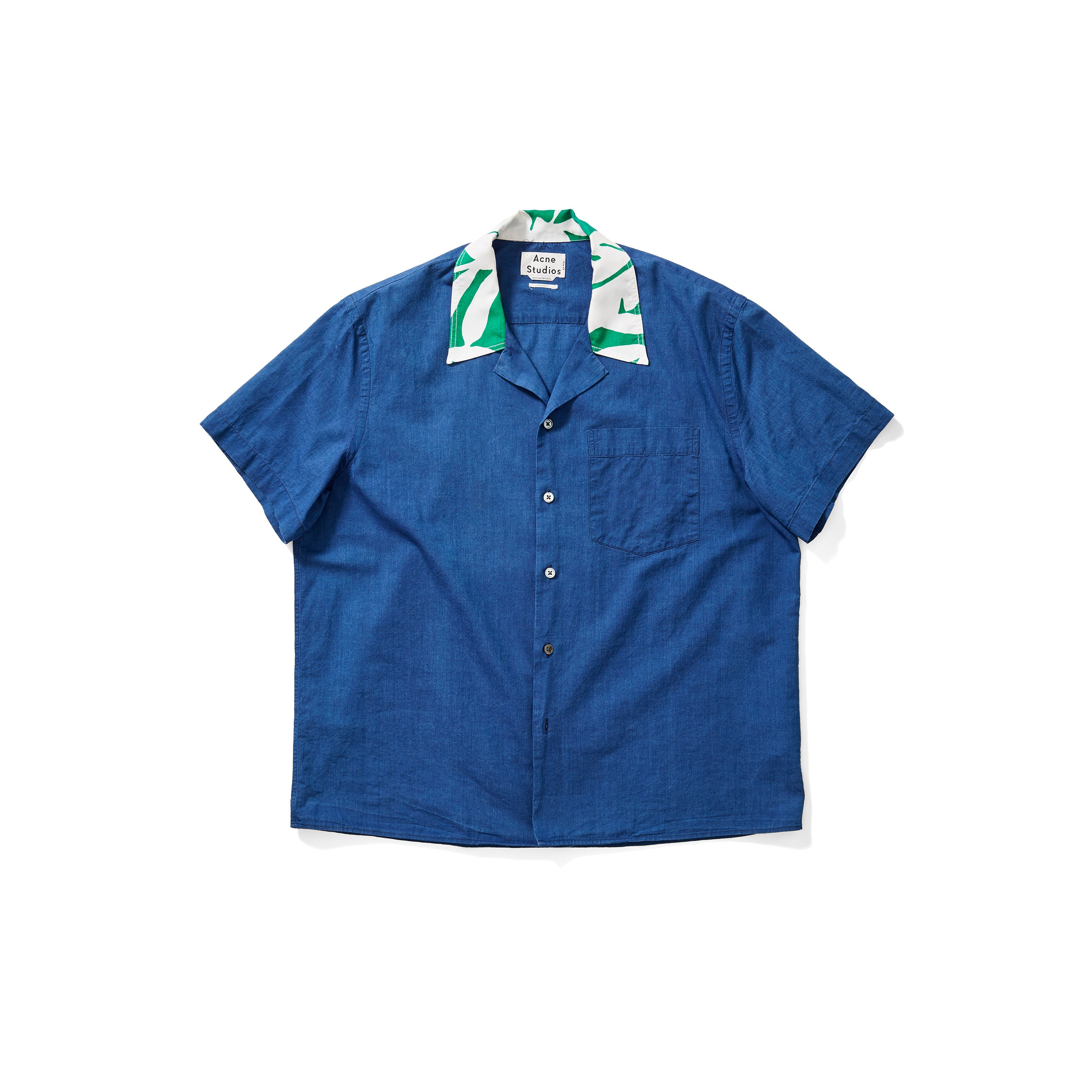 Acne Studios Indigo Shirt with Floral Collar
