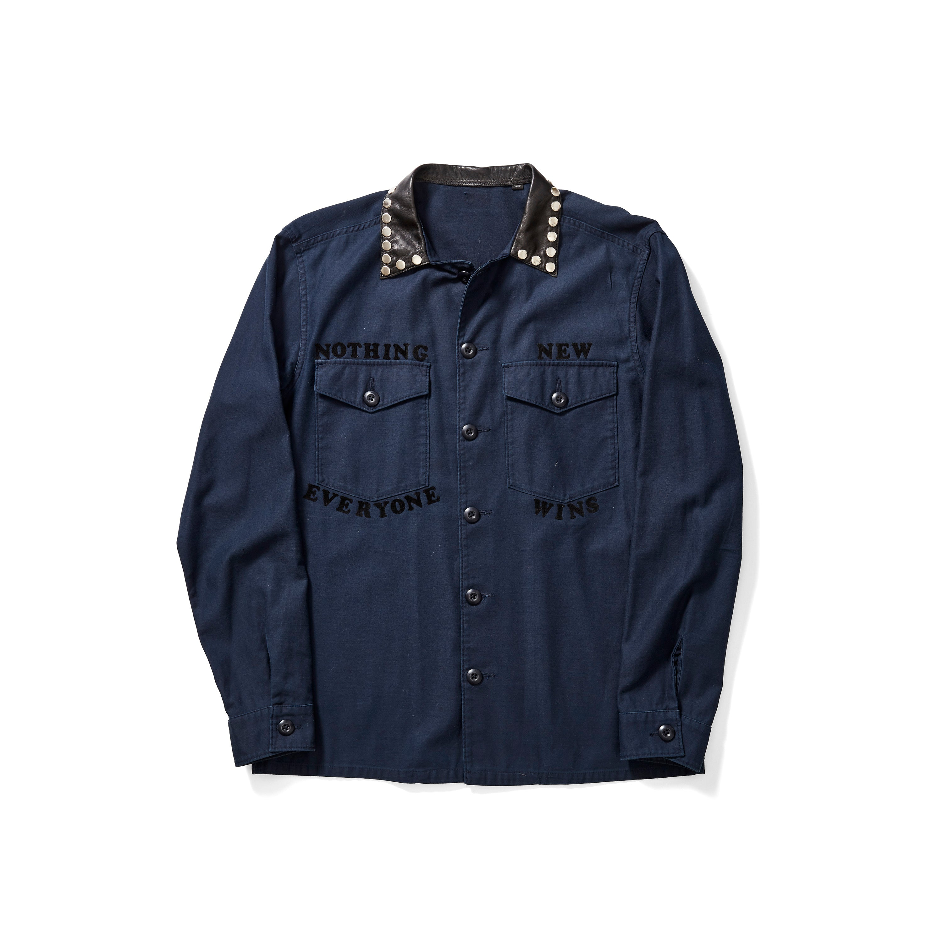 Navy Studded Collar Shirt with Velvet Logo