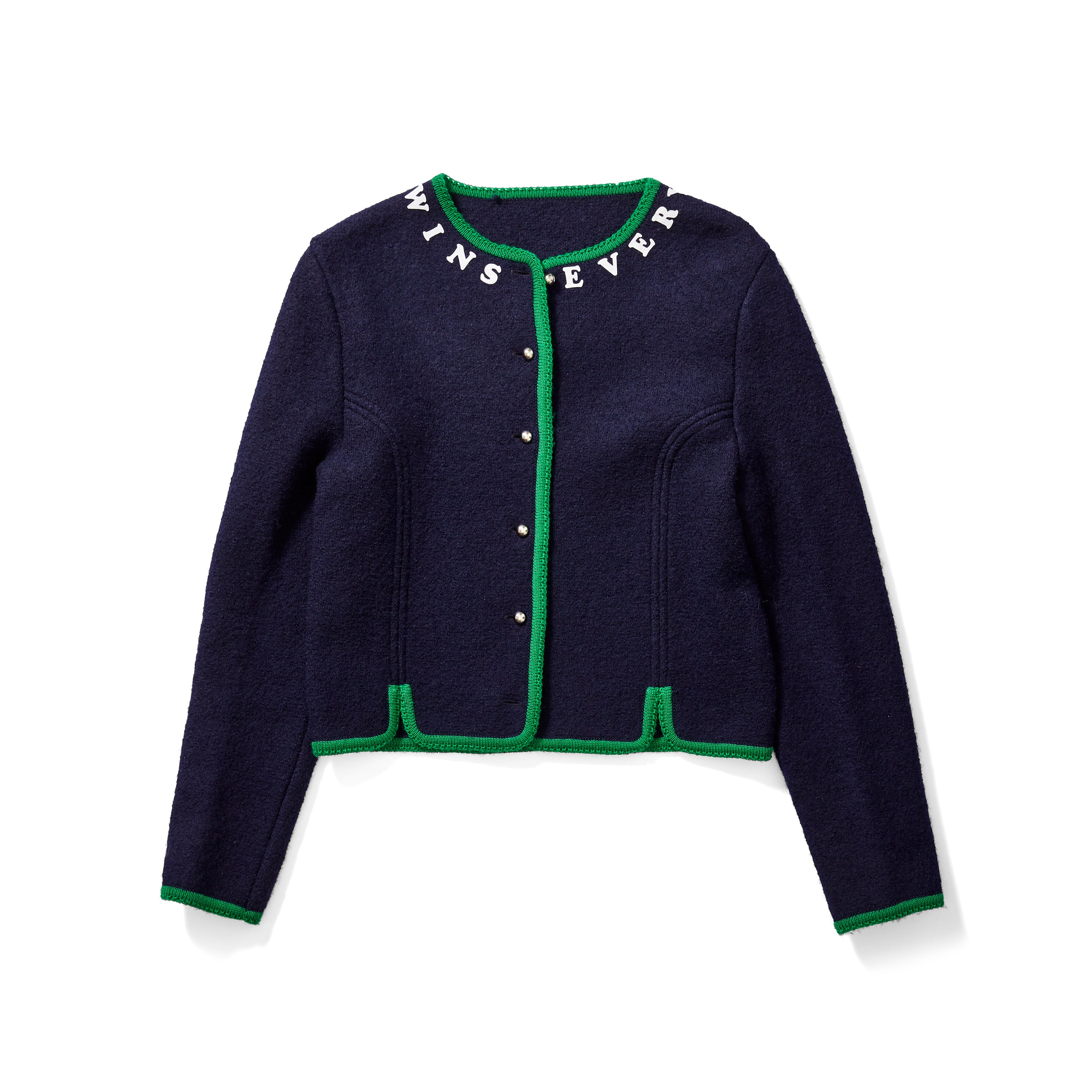 Navy & Green Cardigan with Velvet Lettering