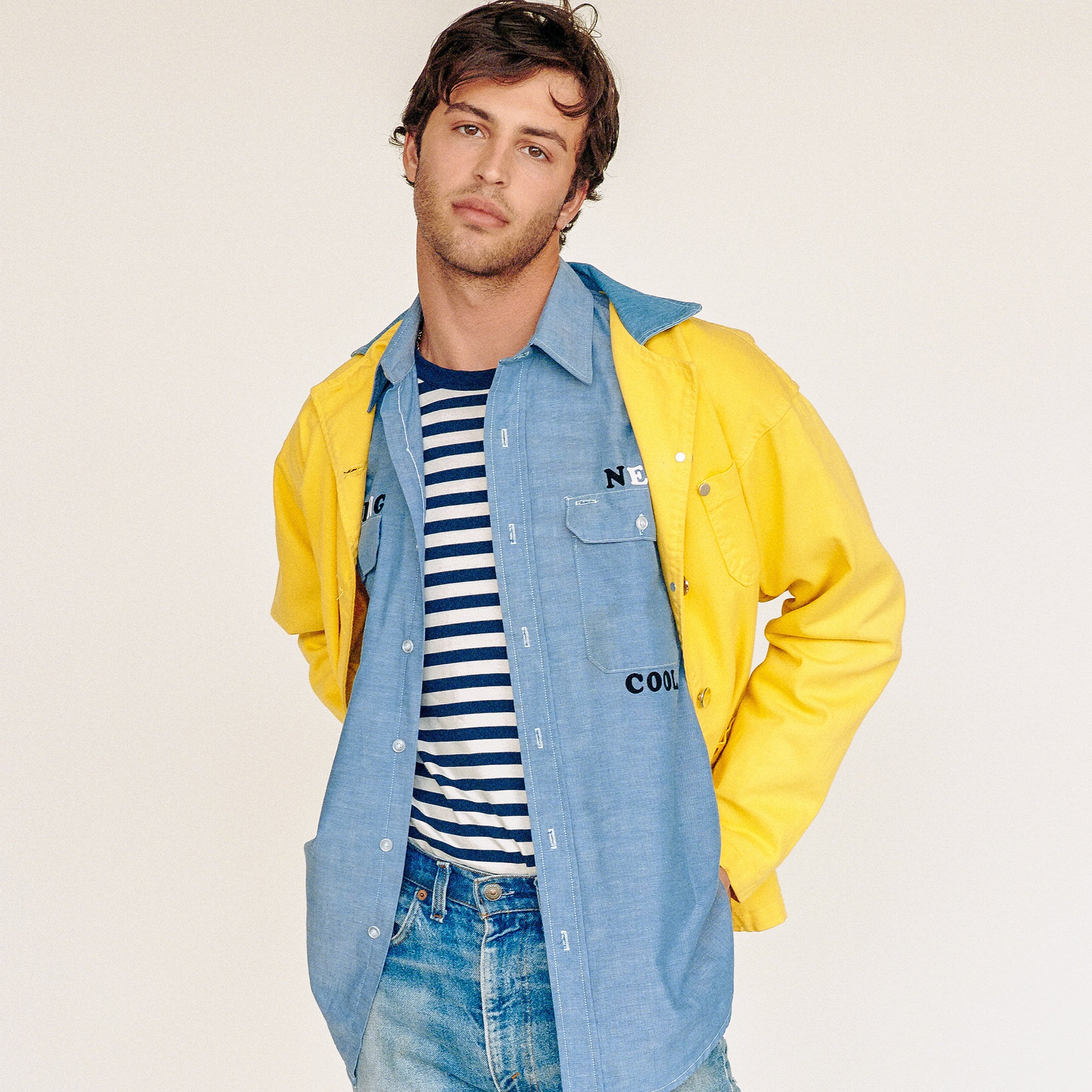 Lee Yellow Workman Jacket with Denim Collar