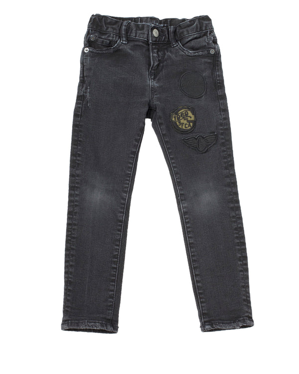 Distressed Slim Jean with Patches