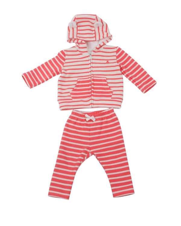 Contrast Stripe Sweatsuit with Fleece Lining