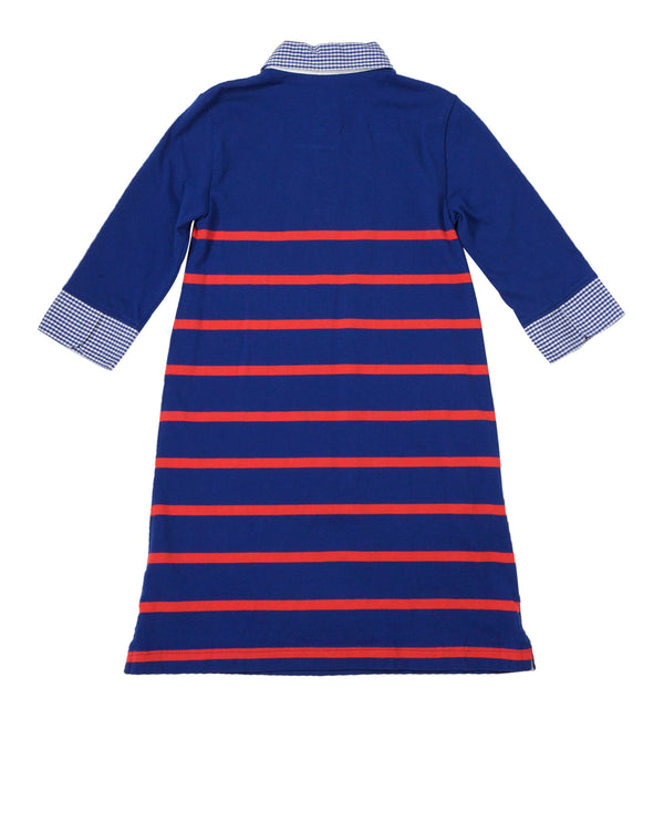 LS Stripe Knit Shirtdress