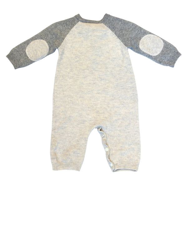 Cashmere Crewneck Onesie with Elbow Patches