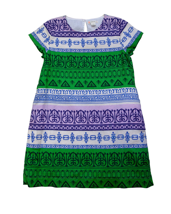 SS Printed Cotton Linen Shift Dress