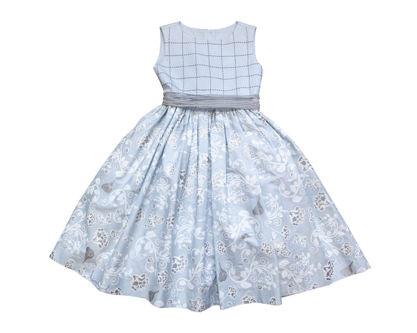 Windowpane Floral Occasion Dress