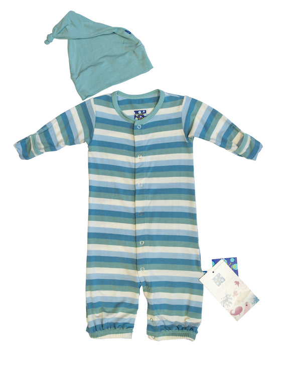 Striped Onesie and Hat with Tags