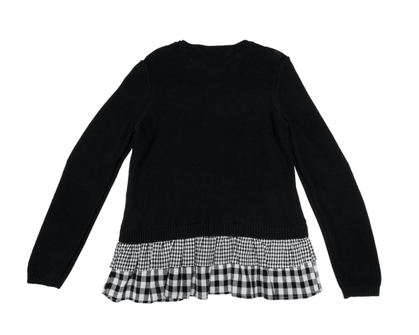 Sweater with Gingham Ruffle Hem with Tags