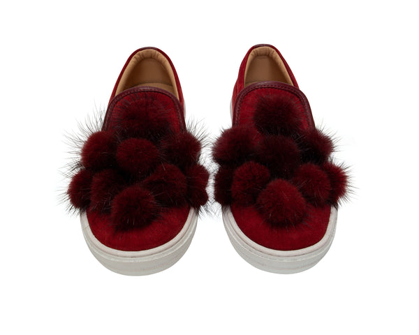 Fur Pom Pom Slip-on Sneakers