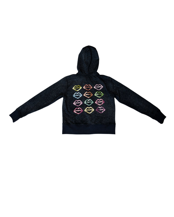 Lip Print Zip Hoodie with Tags