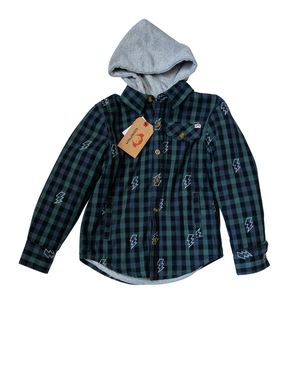Hooded Lightening Flannel Shirt with Tags