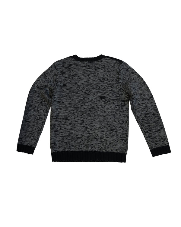 Crewneck Sweater with Contrast Cuffs