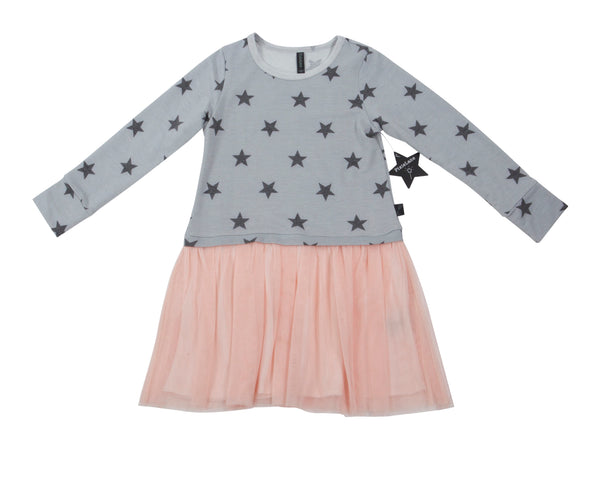 Star Printed Dress with Tulle Bottom Skirt