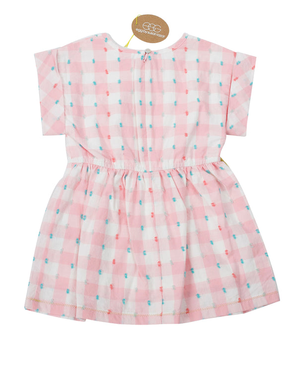 Swiss Dot Gingham Dress with Tags