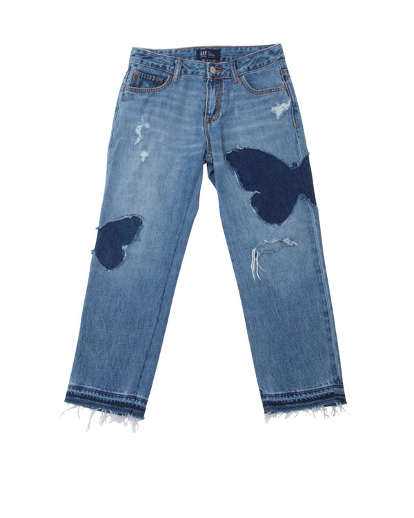 Distressed Jean with Butterfly Patches