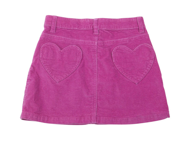 Corduroy Mini Skirt with Heart Patch Pockets
