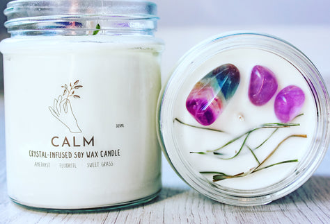 Calm Crystal Candle | Meditating Candle | Natural Healing Candle