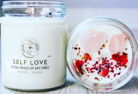 Self Love Crystal Candle | Rose Quartz Candles | Affectrionate Candle Decor