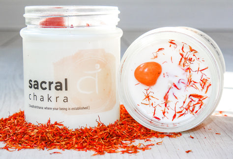 Sacral Chakra Crystal Candle | Crystal Candle for Second Chakra