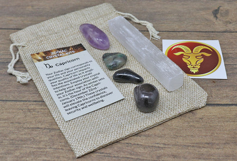 Capricorn Sun Sign Crystal Pack | Zodiac Crystal Set for Healing
