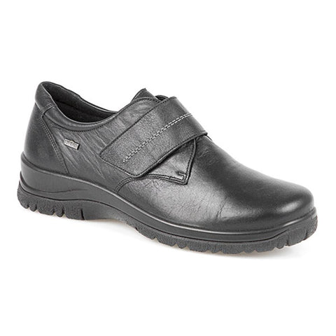 Black Water Resistant Leather Touch Fasten Shoe