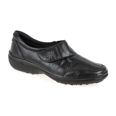 Extra Wide Leather Touch Fasten Shoe - RAJA2305 / 307 957 Extra Wide Leather Touch Fasten Shoe
