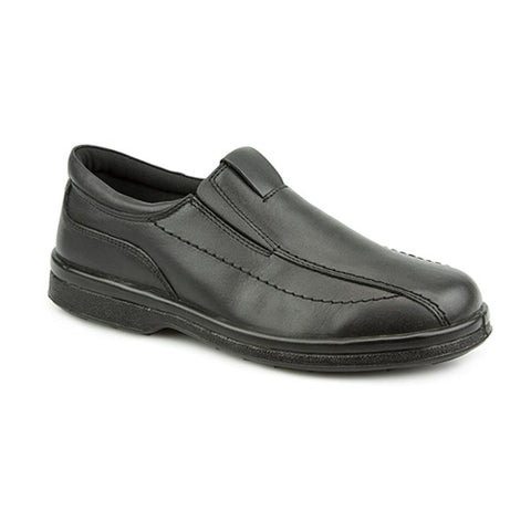 Black Wide Fit Leather Slip On Shoes for Men
