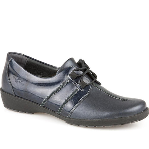 Navy Leather Shoe with Lace Up