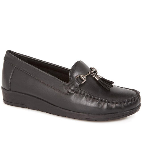 Black Wide Fit Classic Leather Moccasin
