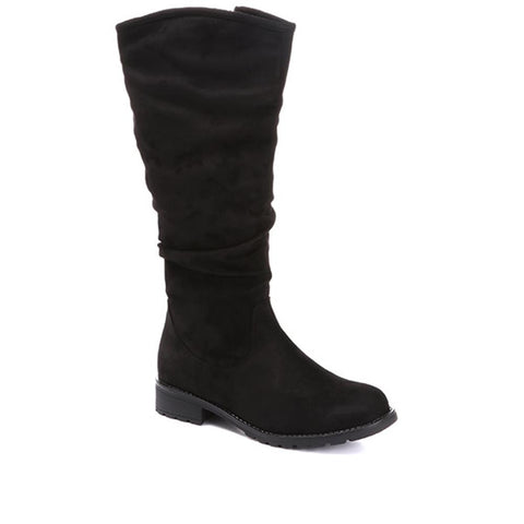 Black Knee High Slouch Boot