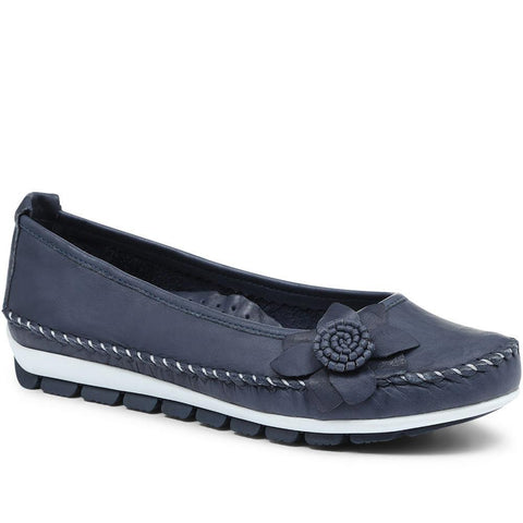 Navy Wide Fit Casual Leather Pumps