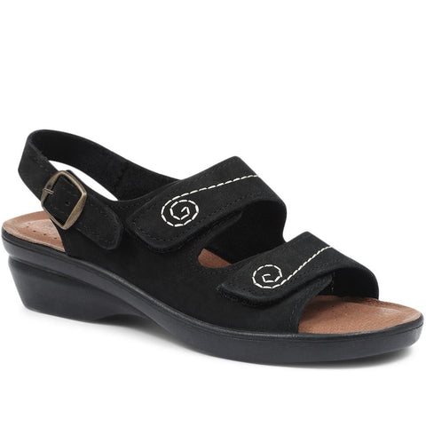 Black Dual-Fitting Leather Sandal