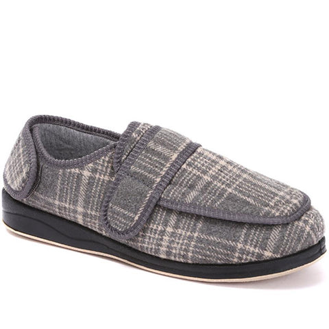 Grey Touch Fasten Slippers