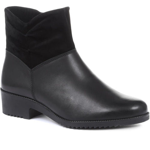 Black Extra Wide Fit Ladies Ankle Boots